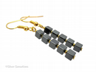 Hematite Cubes & Gold Plated Beaded Dangly Fashion Earrings | Silver Sensations
